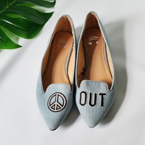 Embroidered Peace Out ✌Unique Balett Flats